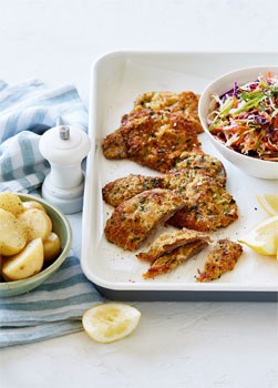 Lemon Parmesan Veal Schnitzel with Coleslaw