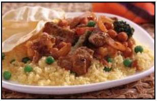 Beef and Vegetable Curry with Orange Couscous and Pappadams