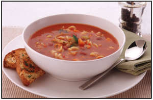 Vegetable, Barley and Pasta Soup with Soy and Linseed Toast