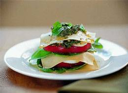 Vegetable Lasagna Stacks with Pesto