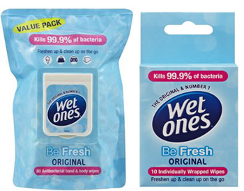 Wet Ones Be Fresh Wipe Soft Pack and Singles Sachet