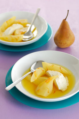 White Wine Poached Pears & Baked Ricotta