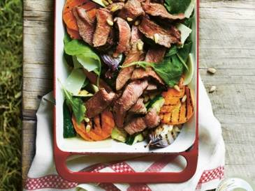 Grilled Sirloin, Zucchini and Sweet Potato Salad