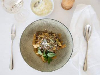 Pappardelle with Braised Lamb Ragu paired with rich Pinot Noir or Chardonnay