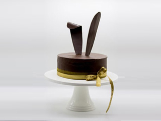Decadent Dark Chocolate Cake with Bunny Ears