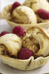 Mission Cinnamon Cups With Ice-Cream and Raspberries
