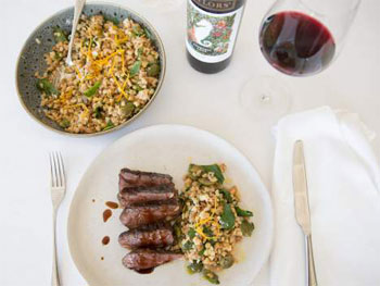 Lamb Rump with Fregula and Olive Salad paired with fresh Pinot Gris or Merlot