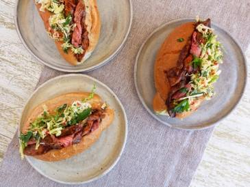 Roast Lamb and Gravy Roll with Parmesan and Chilli Slaw