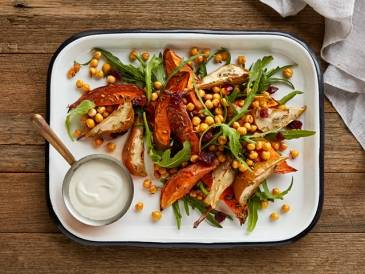 Sweet Potato & Pear Salad with Crunchy Chickpeas