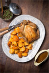 Roast Chicken with Persimmons and Puy Lentils