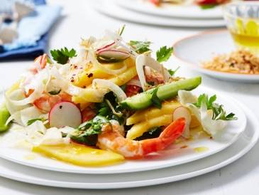 Prawn, Calypso Mango and Qukes Salad with Chilli Coconut