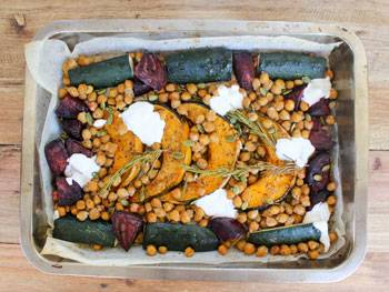 Cinnamon Roasted Chickpeas and Vegetables with Yoghurt Dressing