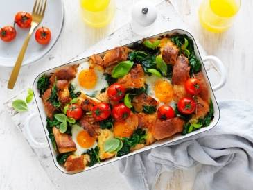 Cheesy Breakfast Strata With Roast Cherry Tomatoes